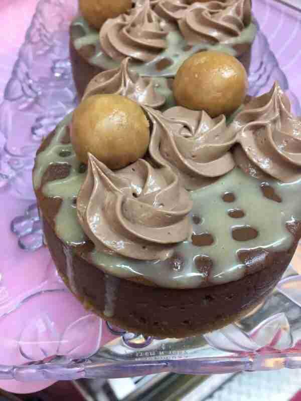 Chocolate peanut butter ball cheesecake